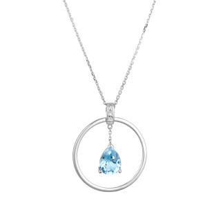 Pendentif Or Blanc CORFOU Diamants 0,03 carat et Topaze 1,3 carat
