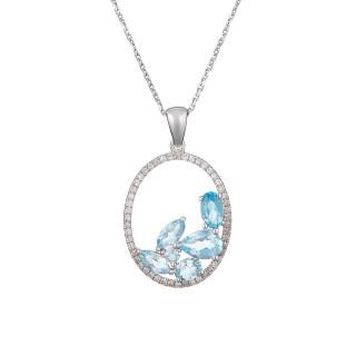 Pendentif Or Blanc BLEUET Diamants 0,18 carat et Topaze 1,75 carat