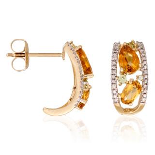Boucles d'oreilles Or Jaune OLIVINES Diamants 0,06 carat et Pierres précieuses 3 carat