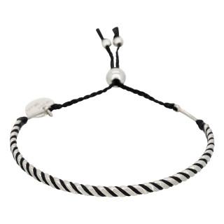 Bracelet Homme ajustable acier, perles et cordon noir BLACK WAX