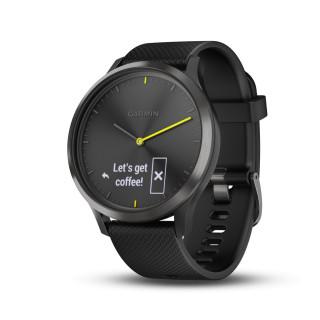 Montre connectée hybride Garmin VIVOMOVE HR, noir bracelet noir, grande
