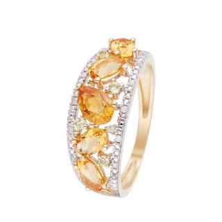 Bague Or Jaune OLIVINES Diamants 0,05 carat avec Péridot 0,14 carat/6 et Citrine 1,30 carat/5