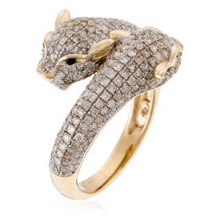 Bague Or Jaune DUO DE PANTHÈRES Diamants 1,28 carat et Saphir 0,03 carat