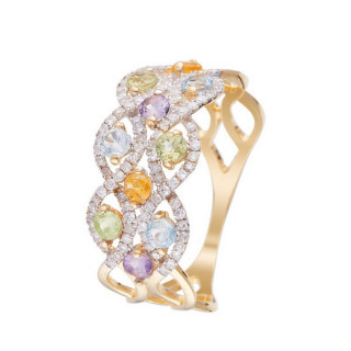 Bague Or Jaune COLOR POP Diamants 0,32 carat avec Péridot 0,3ct/3,Topaze 0,3ct/3, Améthyste 0,18ct/2 et Citrine 0,17ct/2
