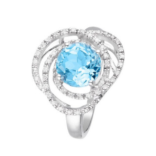 Bague Or Blanc MISSISSIPPI Diamants 0,18 carat et Topaze 2,25 carat