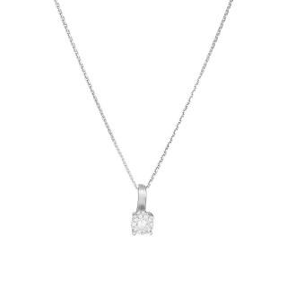 Pendentif Or Blanc AKNA Diamants 0,11 carat + chaîne argent offerte