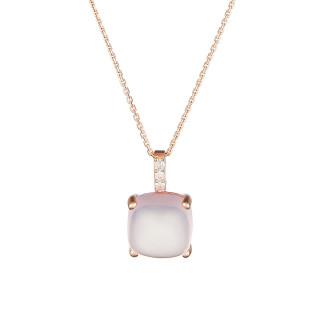 Pendentif Or Rose ROSE DRAGÉE Diamants 0,05 carat et Quartz Rose 4,8 carat + chaîne vermeil offerte
