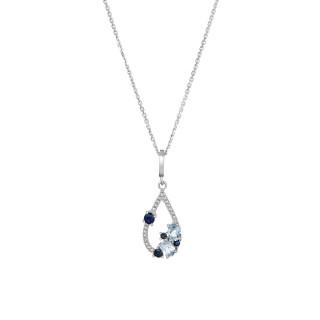 Pendentif Or Blanc SAPHIR ELIXIR Diamants 0,01 carat avec Topaze Bleue 0,48 carat et Saphir 0,25 carat