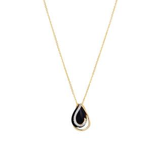 Pendentif Or Jaune GALAPAGOS Diamants 0,06 carat et Agate Noire + chaîne vermeil offerte
