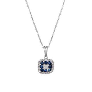 Pendentif Or Blanc VOLGA Diamants 0,03 carat et Saphir 0,58 carat + chaîne argent offerte