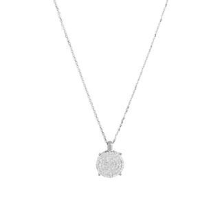 Pendentif Or Blanc SUBLISSIME Diamants 0,25 carat + chaîne argent offerte