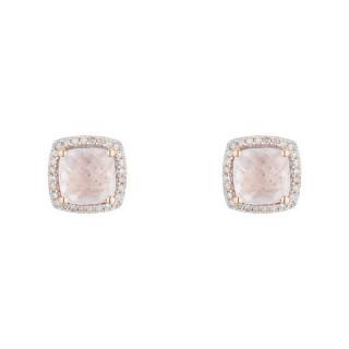Boucles d'oreilles Or Rose QUARTISSIME Diamants 0,18 carat et Quartz rose 2,4 carat