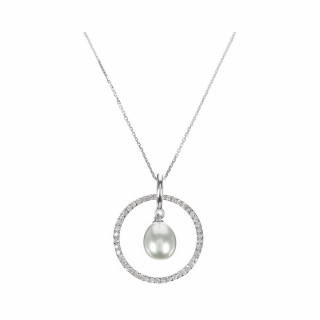 Pendentif Argent, zirconium et Perle Grise Cercles Pétillants Perlés + chaine argent offerte