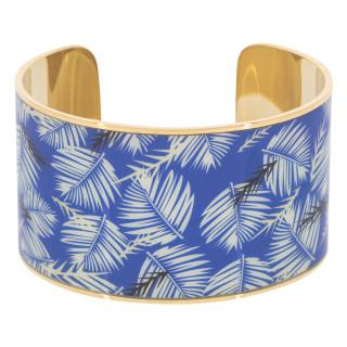 Bracelet manchette BOMBAY émail multicolore Bleu et Blanc finition dorée