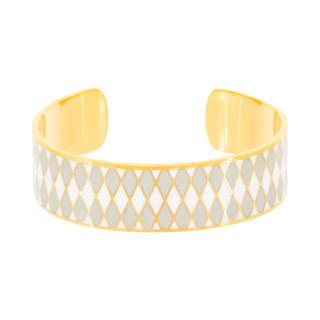 Bracelet ouvert DARWIN émail Gris finition dorée