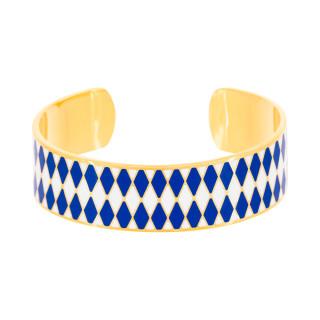 Bracelet ouvert DARWIN émail Bleu finition dorée