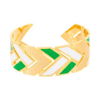 Bracelet manchette LISBONNE émail blanc et vert finition dorée