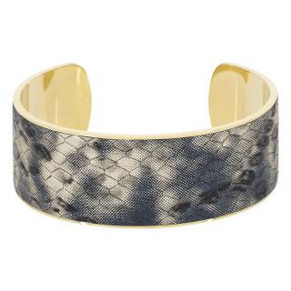 Bracelet manchette MACKAY simili cuir serpent métallisé bleu finition dorée