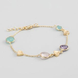 Bracelet chaine laiton doré monté d'une améthyste violette, d'un quartz rose et d'une aqua calci bleue Augustine