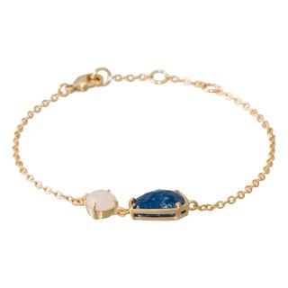 Bracelet chaine JULIANA laiton doré monté d'une aventurine bleue et d'un quartz