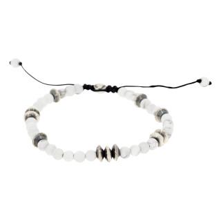 Bracelet Homme JAKUB avec perles d'Howlite et Argent 925