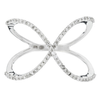 Bague Or Blanc 375 ALPHA Diamants 0,23 carat