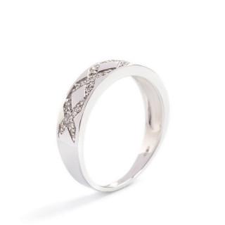 Bague Or Blanc 375 CROSS & CROSS Diamants 0,12 carat