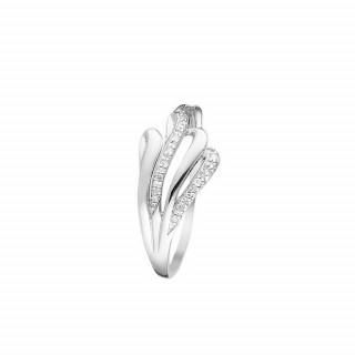 Bague Or Blanc 375 DOUBLE VAGUES Diamants 0,04 carat