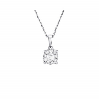 Pendentif Or Blanc 375 BRILLANT LUCIANA Diamants 0,50carat + chaîne argent offerte