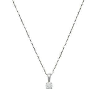 Pendentif Or Blanc et Diamants 0,10 carat BRILLANT LUCIANA et chaîne argent offerte