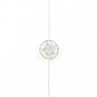 Bracelet chaine Or Blanc STAR Diamants 0,15 carat