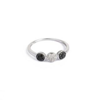 Bague Or Blanc 375 BLACK&WHITE Diamants Noir 0,14 carat
