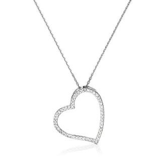 Pendentif Or Blanc et Diamant 0,15 carat COEUR ORIENTAL + chaîne argent offerte