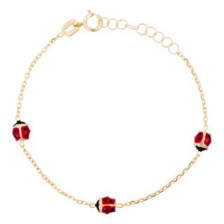 Bracelet or jaune enfant 3 COCCINELLES
