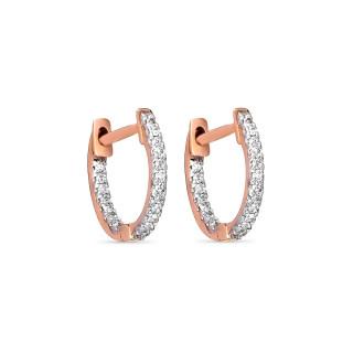 Boucles d'oreilles Or Rose et Diamants 0,08 carat PERFECARAT CRÉOLES