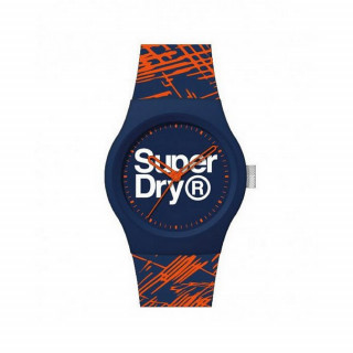 Montre Unisexe Superdry URBAN ETCH Analogique Cadran bleu Bracelet silicone motifs bleu