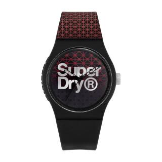 Montre Unisexe Superdry URBAN GEO SPORT Analogique Cadran noir et rouge Bracelet silicone noir et rouge