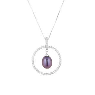 Pendentif argent, zirconium et perle de culture noire Cerceau de Perle Noire + chaine argent offerte