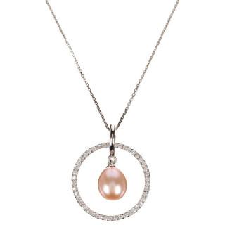 Pendentif argent, oxydes de zirconium et perle de culture Rose Cercles Pétillants Perlés + chaîne argent offerte