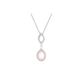 Pendentif argent, oxydes de zirconium et perle de culture Rose Cléa + chaîne argent offerte