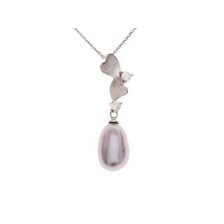 Pendentif argent, oxydes de zirconium et perle de culture Grise  Perle d'Amour + chaîne argent offerte