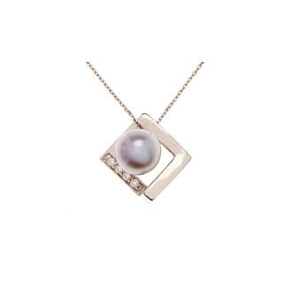Pendentif argent, oxydes de zirconium et perle de culture Grise  Perles Encadrées d'Argent + chaîne argent offerte