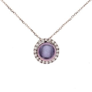Pendentif Argent, zirconium et perle de culture noire Princeza + chaine argent offerte