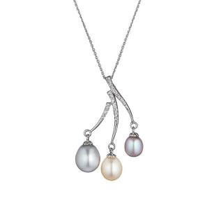 Pendentif argent, oxydes de zirconium et perles de culture Multicolores Trio multicolore + chaîne argent offerte