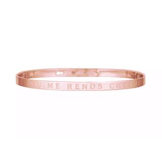 TU ME RENDS CHEVRE bracelet jonc rosé à message