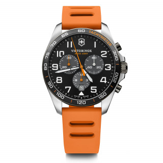 Montre Homme Victorinox FIELDFORCE Sport Chrono, cadran noir, bracelet caoutchouc orange