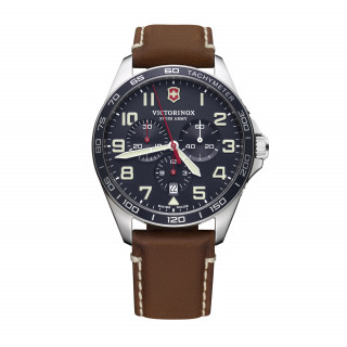 Montre Homme Victorinox FIELDFORCE Chronograph, cadran bleu, bracelet cuir marron - 42 mm