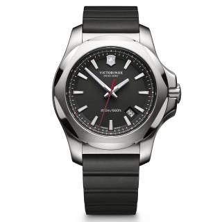 Montre Homme Victorinox I.N.O.X., boîtier acier inoxydable, bracelet caoutchouc noir - 43 mm