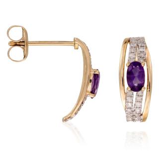 Boucles d'oreilles Or Jaune RHODES Diamants 0,68 carat et Améthyste 1,36 carat
