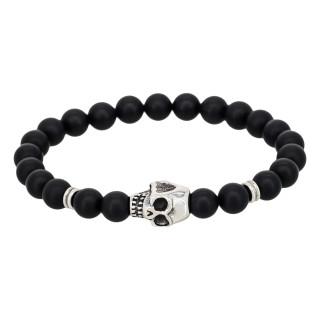 Bracelet Homme élastique acier tête de mort et pierres noires Dark Side